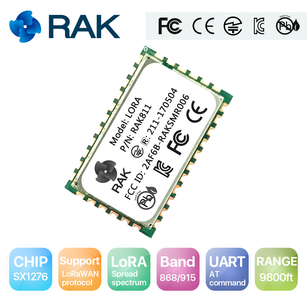 RAK811 Low Power Lora Module UART To Serial AT Command Wireless Communication Module LORAWAN Protocol Frequency 868/915 MHZQ107