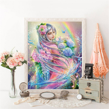 Huacan 5D DIY Diamond Painting Fairy Full Square Round Diamonds Embroidery Kits Portrait Decorations Home