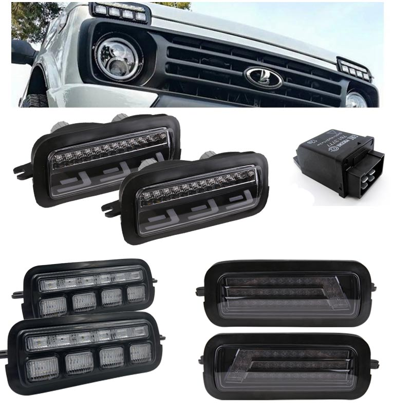 Pair Car Styling Accessories LED Brake Taillight Stop Lights for Lada Niva 4x4 1995 + with Running Turn Signal Light Lamp DRL image