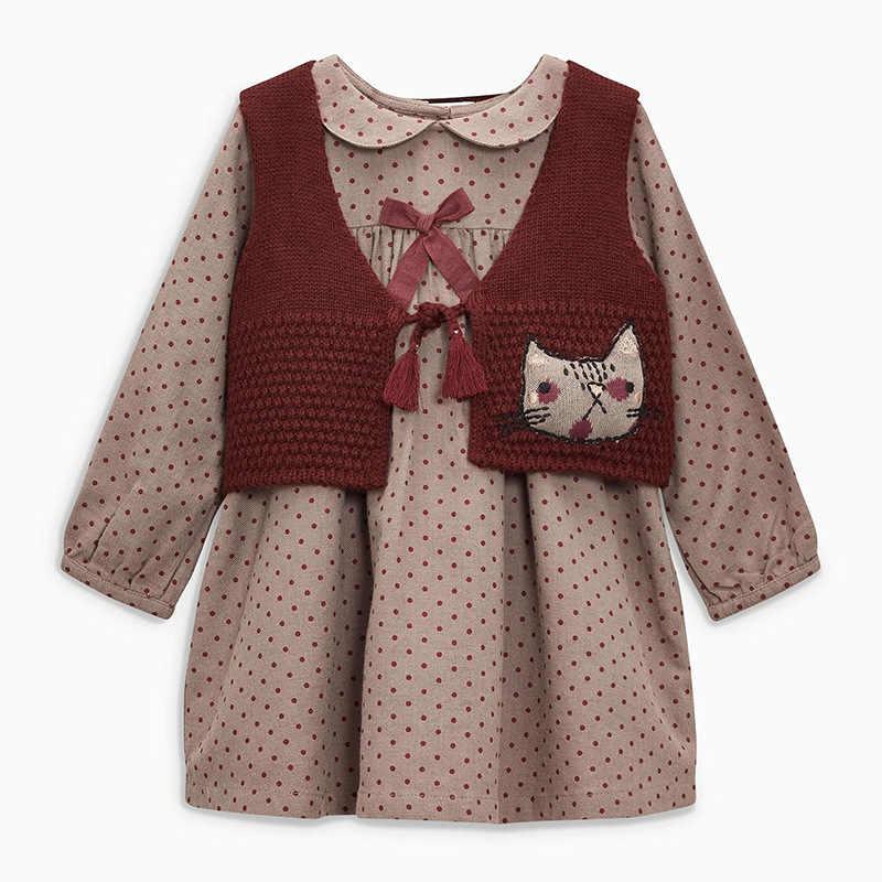 Küçük maven 2-7Years 2020 sonbahar dalga noktası kızlar için elbiseler Toddler bebek kız elbise çocuk çocuklar üstleri elbise güz giyimi