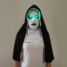 The Nun Mask Horror With Scary Voice Led light Cosplay Valak Latex Masks Headscarf Helmet Halloween Party Props