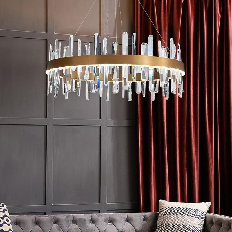 Post Moderne Luxus K9 Kristall Führte Anhänger Licht Wohnzimmer Glanz Gold Stahl Led Anhänger Lampe Auszusetzen Lampe Drop Licht leuchten