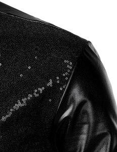 Image 4 - Schwarz Pailletten Glitter Kleid Shirt Männer Shiny Lange Sleeve Button Down 70s Disco Party Dance Hemd Männlichen Weihnachten Halloween kostüm