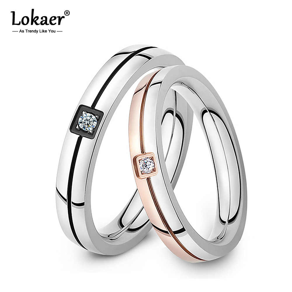 Lokaer Mosaic Cubic Zirconia Ring Stainless Steel Shinning Crystal Couple Ring Forever Love For Romantic Wedding Rings R19102