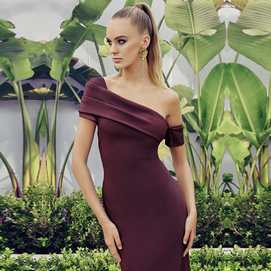 Adyce 2020 Summer One Shoulder Bodycon Bandage Dress Sexy Short Sleeve Violet Club Wear Celebrity Evening Party Dress Vestidos