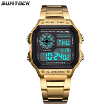 PANARS Watch Men Sport Digital Watches Chronograph Waterproof Watch Stainless Business Wristwatches Male Clock Relogio Masculino 6 11 square business watch men stainless steel waterproof led quartz sport watch men gold clock male relogio masculino relojes