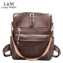 Women Backpack Large School Bags For Teenage Girls Shoulder Bag Vintage PU Leather Backpacks Multifunction Casual Rucksack XA88H