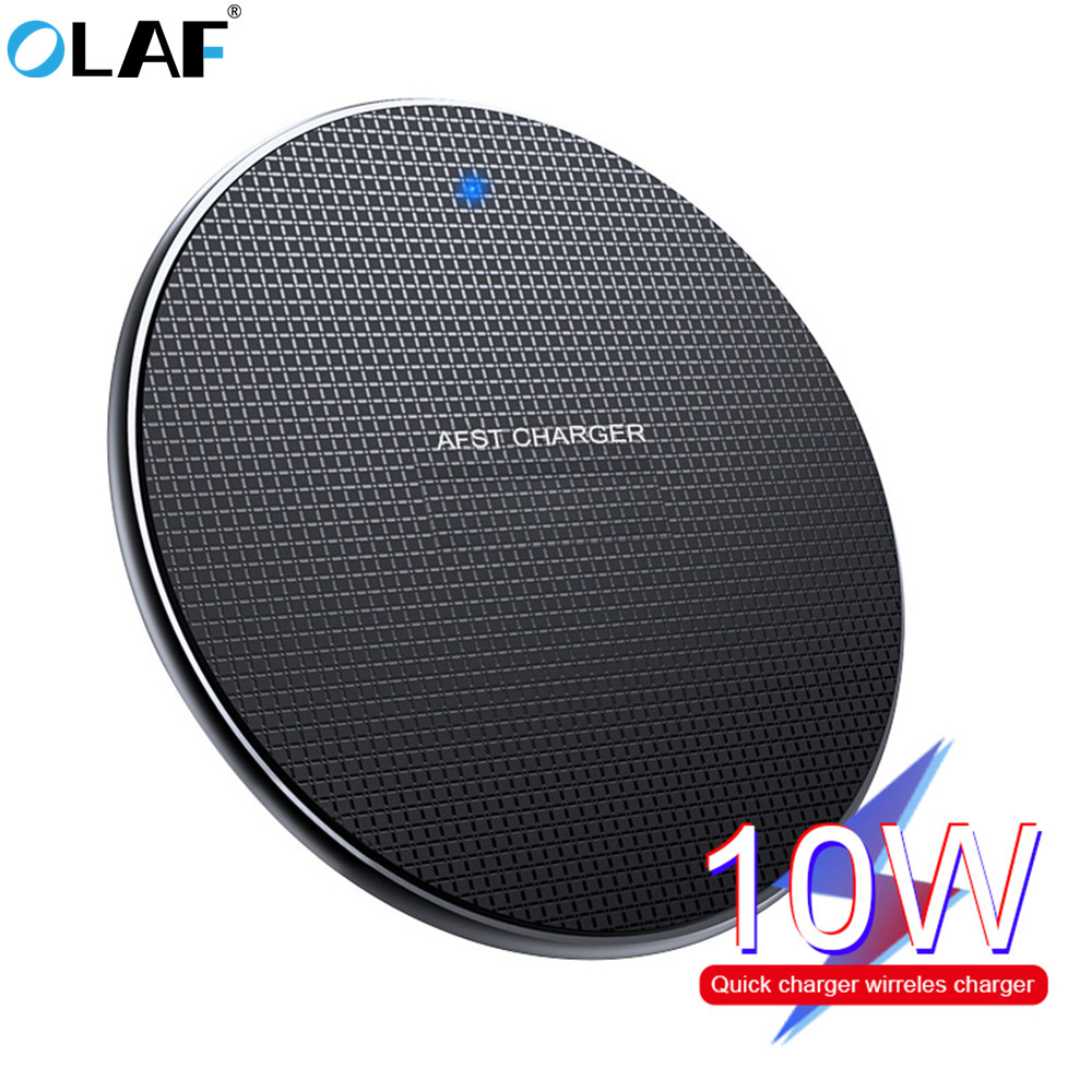 10W Fast Qi Wireless Charger For IPhone 11 Pro XS Max XR X 8 Plus Wireless Charging Pad For Samsung Galaxy S10 S9/ S9+ S8 Note 9