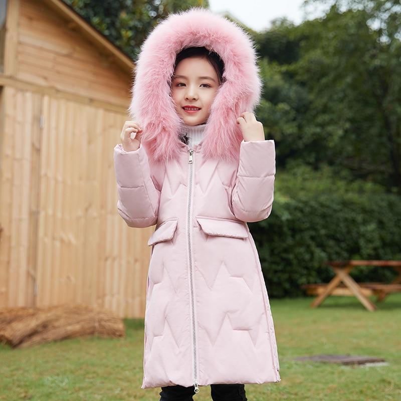 2019 doudoune pour filles enfants veste d'hiver adolescent longue section manteau en duvet pour enfants avec duvet de canard blanc enfants vêtements