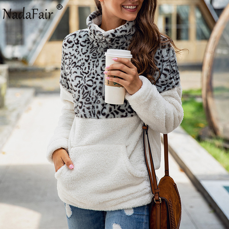 Nadafair Oversized Fluffy Sweater Women Leopard Patchwork Zip Pockets Fleece Casual Plus Size Winter Pullover