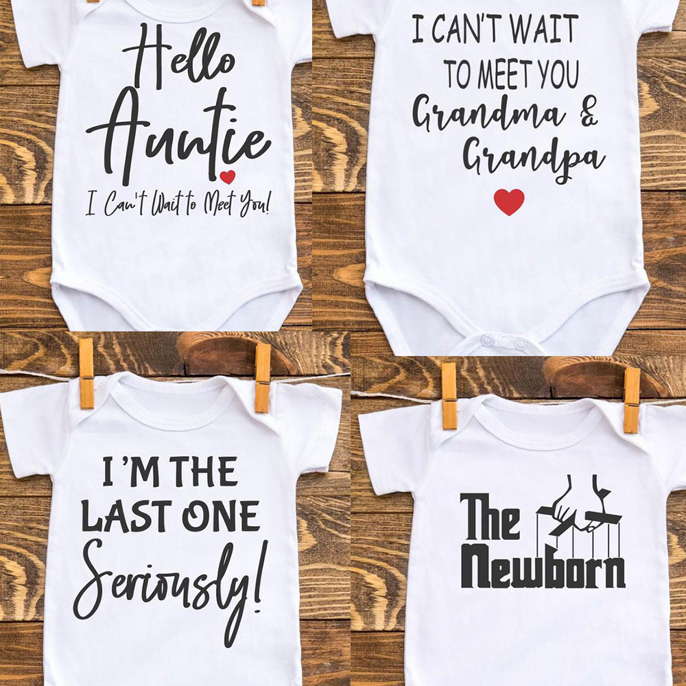 Can't Wait To Meet Grandma Grandpa&auntie Baby Bodysuit Pregnancy Announcement Clothes One Piece Boy Girl Shower Gift