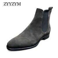 ZYYZYM мужские ботинки «Челси»; сезон весна-осень; замшевые высокие повседневные ботинки в классическом стиле; Мужская обувь; botas hombre; большие ...