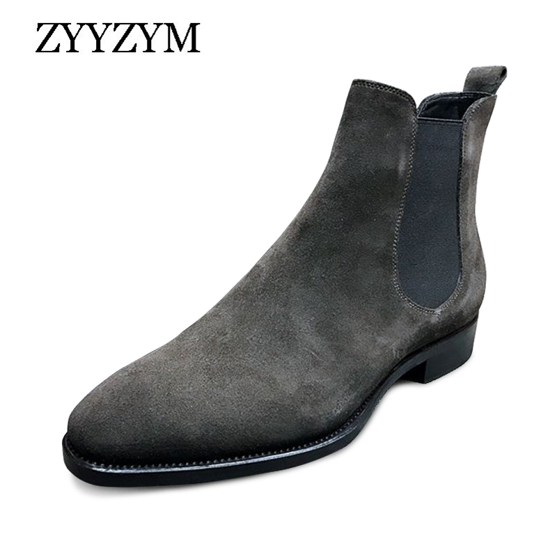 ZYYZYM Men Chelsea Boots Spring Autumn Suede High Help Classic Style Fashion Casual Boots Men Shoes Botas Hombre Large Size39-48