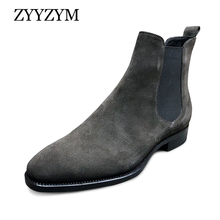 ZYYZYM Men Chelsea Boots Spring Autumn Suede High Help Classic Style Fashion Casual Boots Men