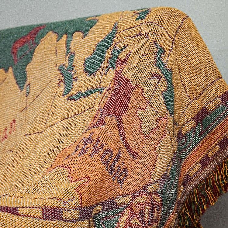 Image 2 - World map Cotton Bohemian Plaids Blanket Multi function Sofa  Decorative piano cover tapestry Cobertor Tassel BlanketBlankets   -