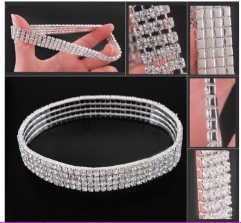 3-Row Three Row Sparkly Crystal Rhinestone Stretch Cz Tennis Ankle Chain Sexy Anklet Bridal Wedding Accessories for Women 3