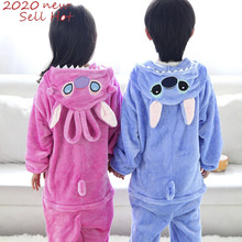 Kigurumi Stitch Children Pajamas Winter Sleepwear Boys Onesies Girls Pajama Set Cute Unicorn Panda Animal Kids Flannel Pyjama