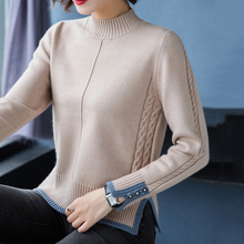2020 Women's Autumn Spring Basic Sweaters Solid Slim Office Ladies Female Pullovers Long Sleeve Half High Collar Casual Jumpers