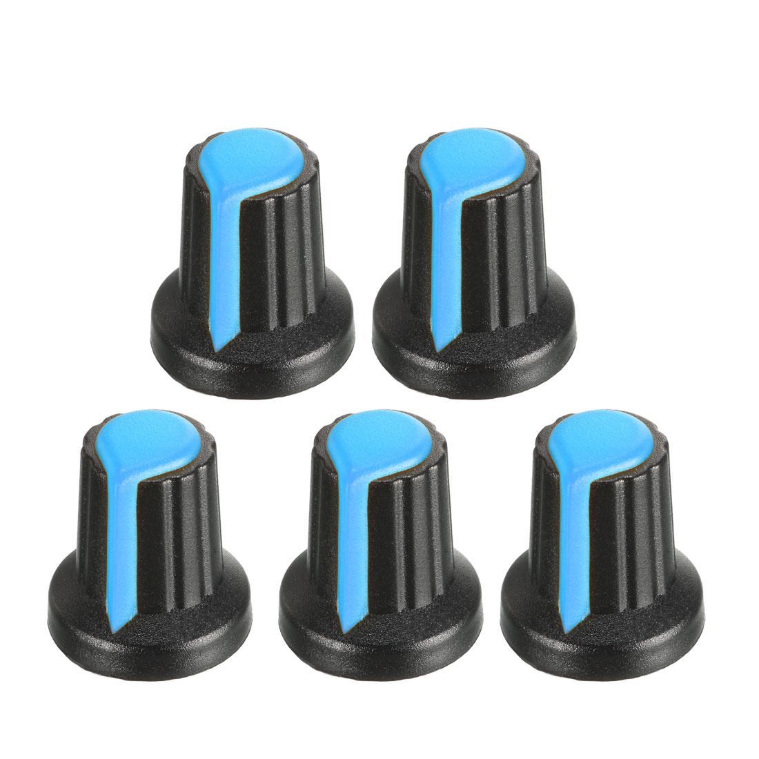 Uxcell 5Pcs 6mm Insert Shaft 17x16mm Plastic Potentiometer Rotary Knob Blue