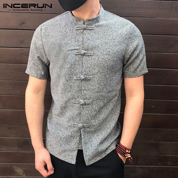 INCERUN 2020 Chinese Style Men Shirt Button Stand Collar Short Sleeve Casual Loose Tops Solid Color Vintage Tang Suit Shirts Men