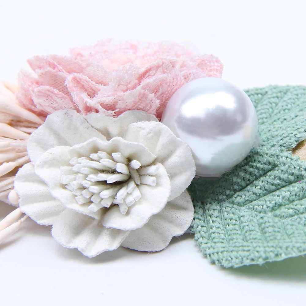 Peral Baby Stirnbänder Blume Für Mädchen Handgemachte Bundle Nylon Elastische Haarband Baby Haarband Kopfschmuck Neugeborenen Haar Zubehör