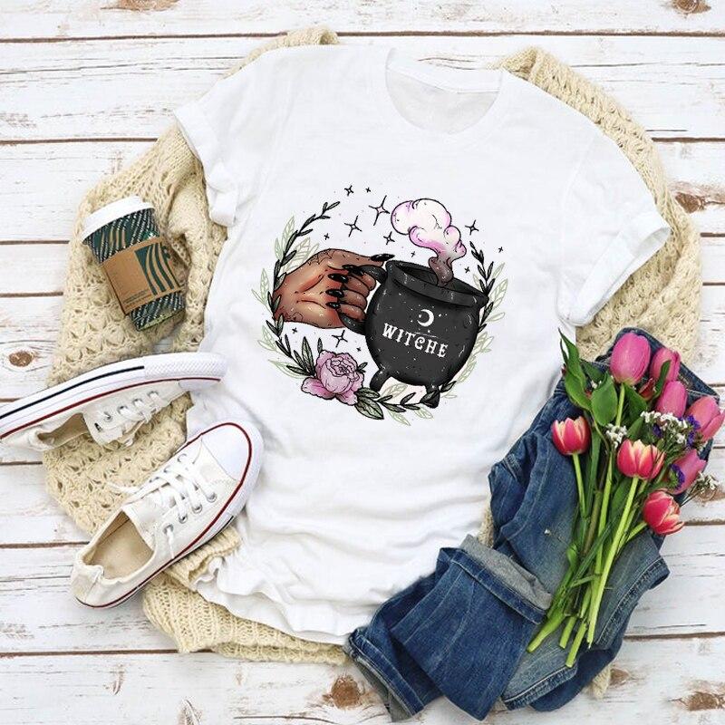 Женская футболка с рисунком ведьмы, кофе, модная летняя футболка с принтом, топы, женская одежда, женская одежда, футболка, женская футболка|Футболки|   | АлиЭкспресс