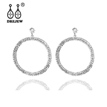 DREJEW Big Rose Gold Silver Circle Rhinestone Pearl Statement 925 Fashion Hoop Earrings Sets for Women Weddings Jewelry HE456