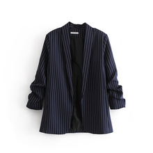 2020 new spring and autumn ladies suit jacket Fashion cuffs striped striped jacket feminine Elegant women's buttonless suit