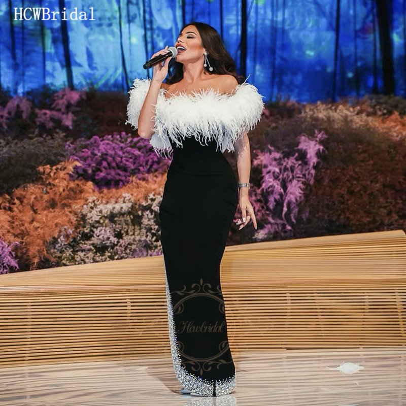 Black Sexy Long Sexy Prom Dresses White Feathers Glitter Crystals Off The Shoulder Middle East Celebrity Dress Plus Size