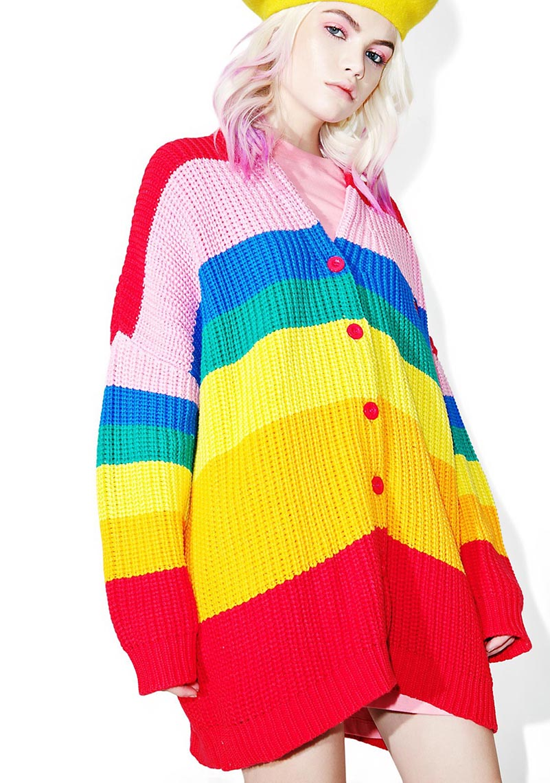 NiceMix autumn 2019 Harajuku Rainbow Cardigan Women Loose Sweater Coat Female Oversized Sweaters Letter Embroidery Jumper in Cardigans from Women 39 s Clothing