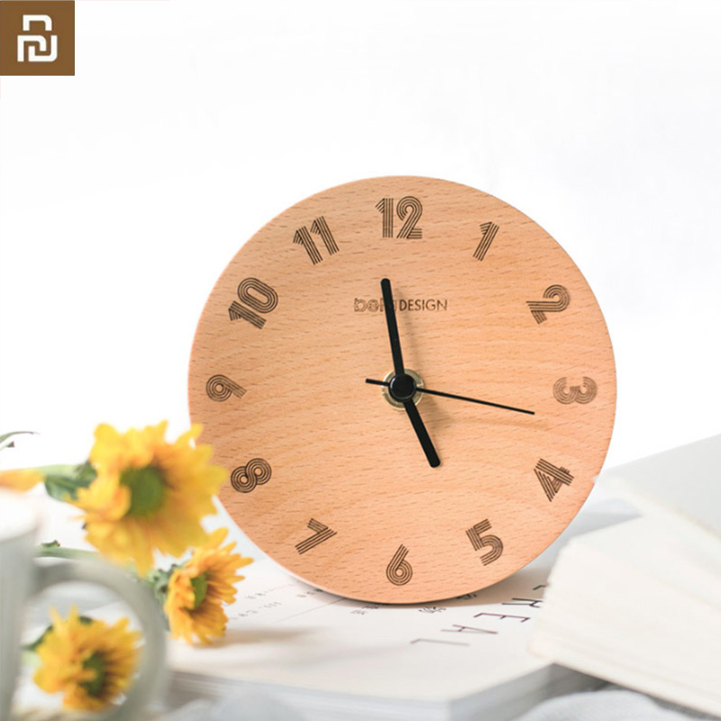 Original youpin Nordic Minimalist Decoration Small Pendulum Clock Wood Mute Sweeping Alarm Clock for Smart Home office H20(China)