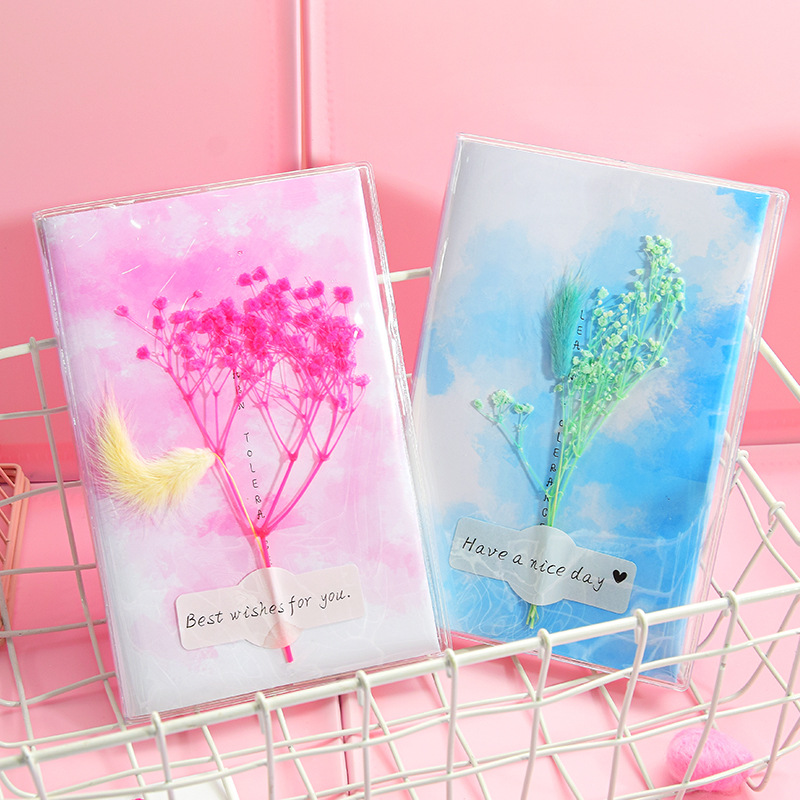 Fashion Dried Flowers Notebook Cute Blank Word Book Card Planner Journal Diary Notepads Stationery Gift School Supplies