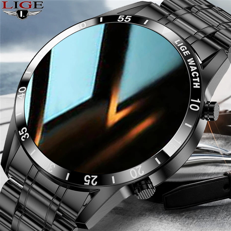 LIGE New stainless steel Digital Watch Men Sport Watches Electronic LED Male Wrist Watch For Men Clock Waterproof Bluetooth Hour