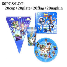 80PC Cartoon Disney Toy Story Banners Kids Birthday Party Supplies Decorations Sets Paper Plates Cups Baby Shower