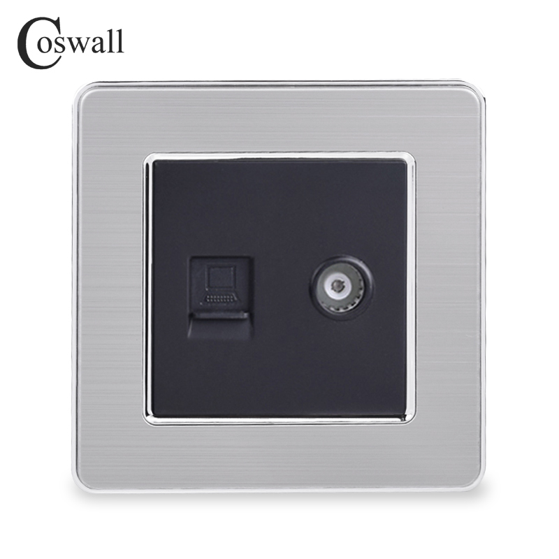 COSWALL RJ45 Internet Data Computer Jack CAT5E Connector With Female TV Outlet Stainless Steel Brushed Panel Wall Socket