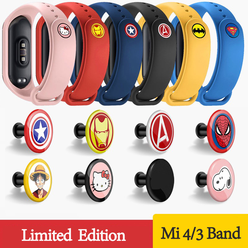 For Xiaomi Mi Band 3 4 Sport Strap Silicone Cartoon Wrist Strap Band Bracelet Watch For Mi Band 3 4 Woman Man Miband 4 3 Strap