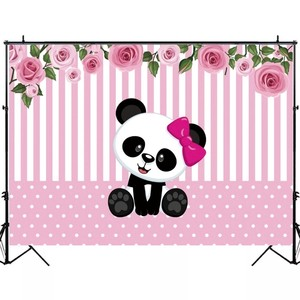 Image 4 - Laeacco Birthday Photography Backdrops Pink White Stripes Flowers Panda Bamboos Photographic Backgrounds Baby Shower Photocall