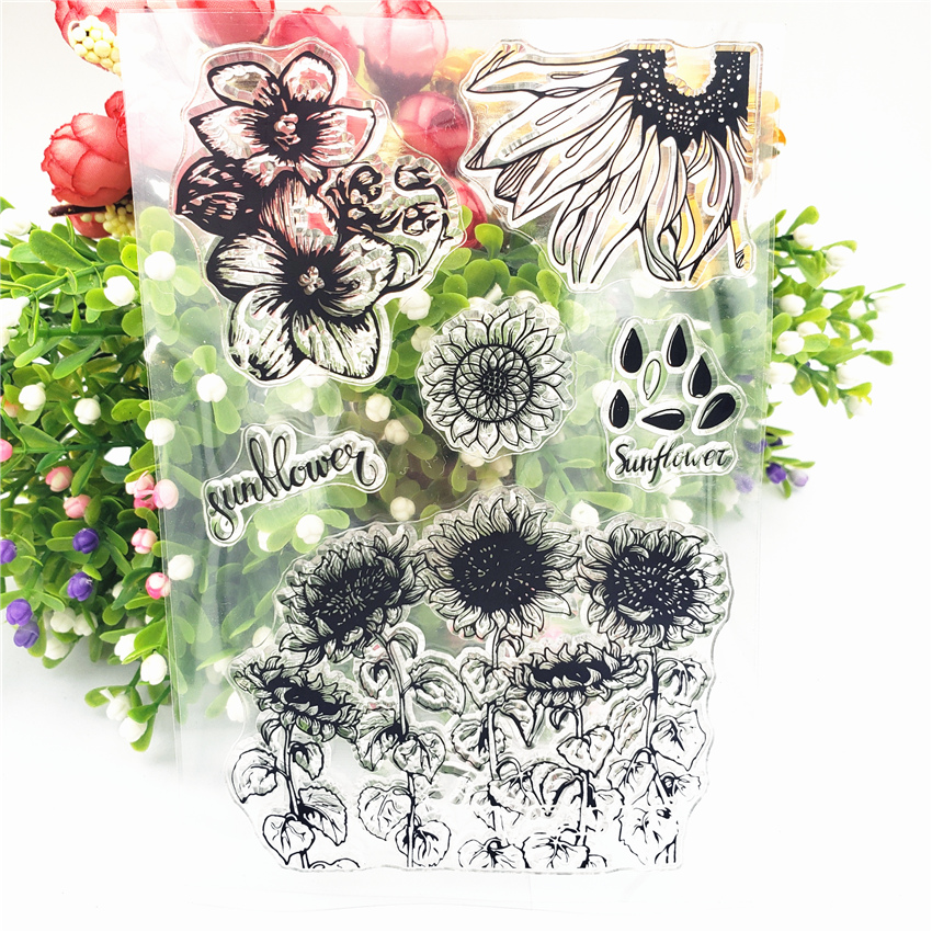 JCarter Rubber Clear Stamps for Scrapbooking Sunflower Field 2019 Silicone Seals Craft Stencil Album Card Make Decoration Sheet in Stamps from Home Garden