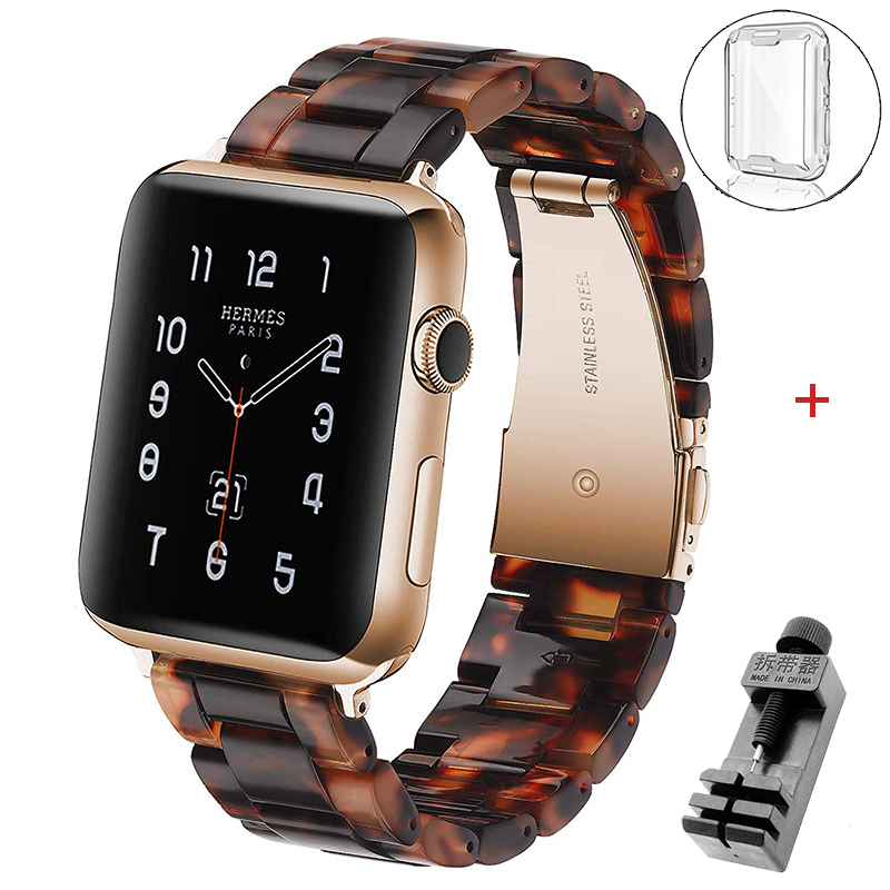 Correa de resina para apple watch, pulsera transparente para iwatch 6, 5, 44mm, 42mm y 38mm, series 6, se, 5, 4, 3/2, 40mm