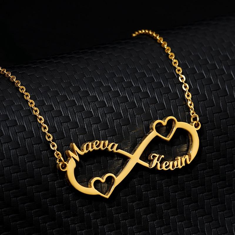 Заказное ожерелье с кулоном «бесконечность» Для женщин Персонализированная Серебряная цепочка из нержавеющей стали ожерелья со знаком бе...
