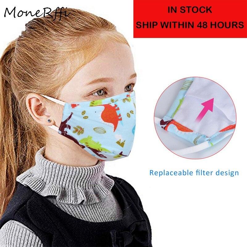 MoneRffi Instock! Kids Anti-Pollution Mask Breathable Childrens Mouth Mask Washable Anti Dust Smoke Anti-fog Face Masks Dropship