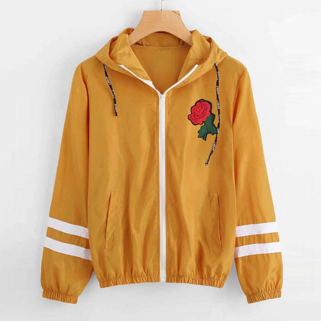 Female Jacket Autumn Winter Sweatshirt Long Sleeve Rose Thin Skinsuits Hooded Zip Floral Pockets Sport Coat chaqueta mujer
