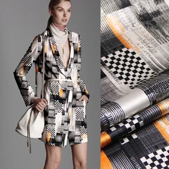 118CM Wide 19MM 93% Silk & 7% Spandex Gray Geometry Print Stretch Silk Satin Fabric for Dress Cheongsam Shirt Jacket D1110