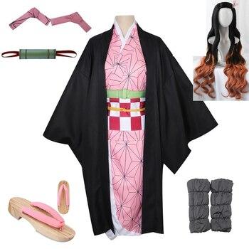 Anime demonio Cazavampiros: Kimetsu no Yaiba Kamado Nezuko Tomiok Zenitsu Kanawo Cosplay Kimono de las mujeres pelucas de Cosplay zuecos