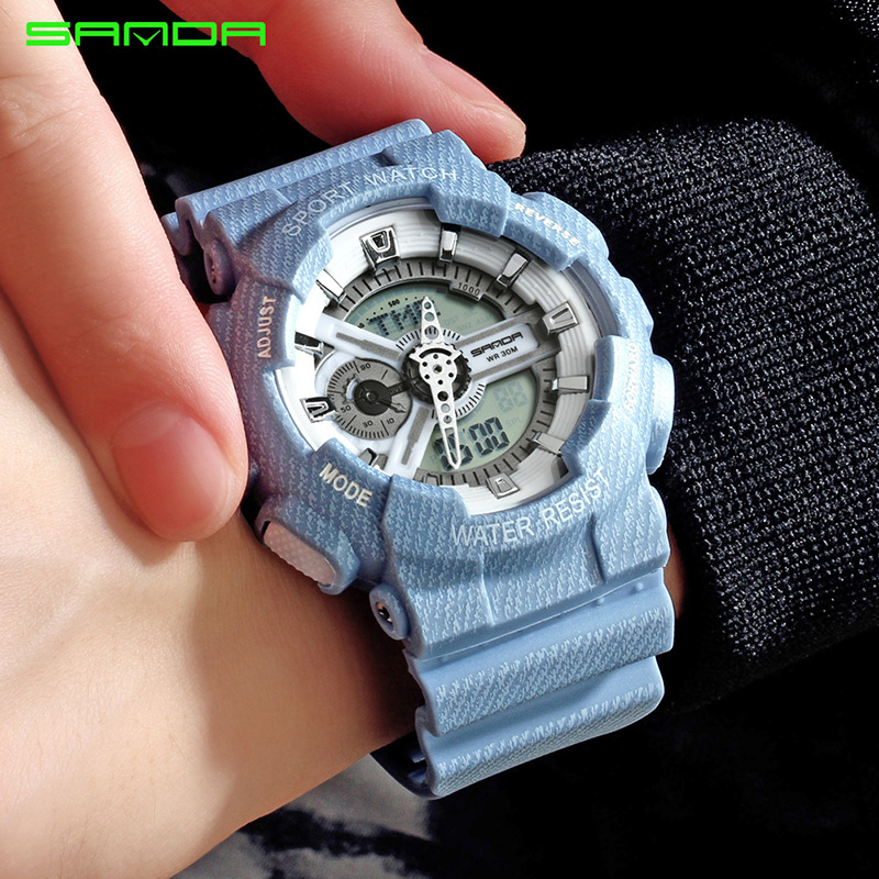 SANDA New Elegant Women Men Quartz Led Digital Watches Couple Luxury Business Sport Style Fashion Waterproof Relogio Feminno