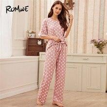 ROMWE Pink Polka Dot Lace Trim Cute Pajamas For Women Casual Sleepwear Short Sleeve Pajama Set Round Neck Pj Set Woman Pajamas plus polka dot lace trim pajama set