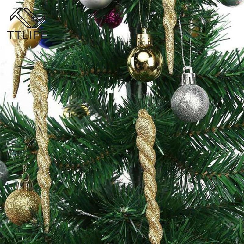 12Pcs Simulation Icicle Ice Christmas Tree Pendant Ornament Party Decor 5 Colors