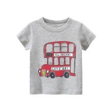 T-Shirt Children Tops Summer Boy Fashion Cartoon Casual Pullover Garments Bus-Printed