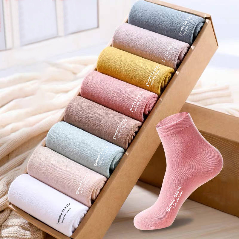 5 Pairs/Lot Hot Sale Women Cotton Socks Simple Beauty English Words Pure Light/Dark Color Group High Quality Autumn Winter Socks
