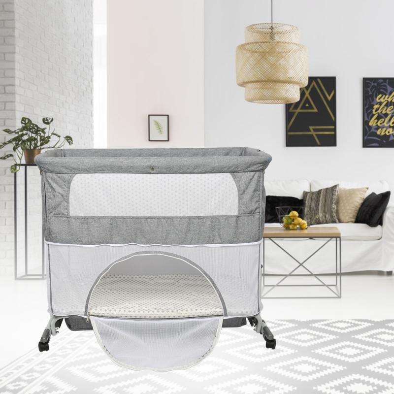 Splicing Bed Removable Nordic Style Crib Baby Multi-function Portable Folding Newborn Baby Bedside Bed 2-layers Cradle Bed HWC